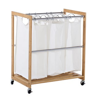 EcoStorage 3-bag Bamboo Laundry Cart