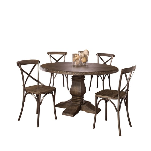 Hillsdale Furnitureu0026#x27;s Lorient Round Dining Set Finished In Washed  Charcoal Gray