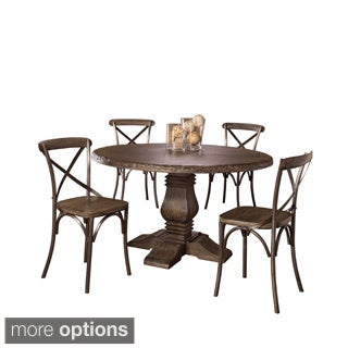 Hillsdale Furniture's Lorient Round Dining Set finished in Washed Charcoal Gray