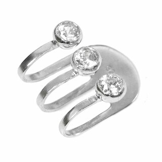 Queenberry Sterling Silver Cubic Zirconia Earring Cuff