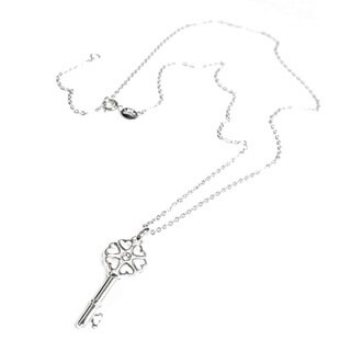 Queenberry Sterling Silver Cubic Zirconia Heart Key Necklace
