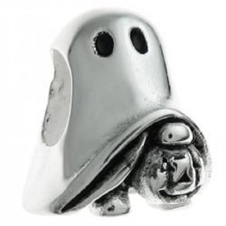 Queenberry Sterling Silver Halloween Ghost Pumpkin Bead European Charm