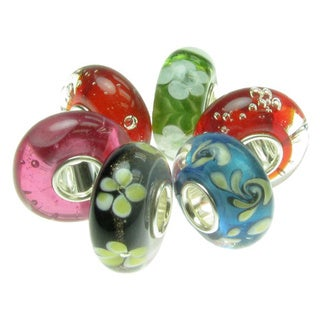 Queenberry Sterling Silver Glass 6-piece Bundle European Bead Charm