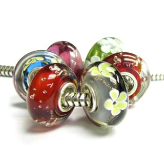 Queenberry Christmas Red Flower Glass Bead Sterling Silver Core For European Charm Bracelets
