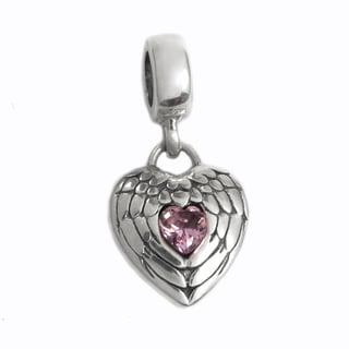 Queenberry Sterling Silver Pink Cubic Zirconia Angel Wing Dangle European Bead Charm