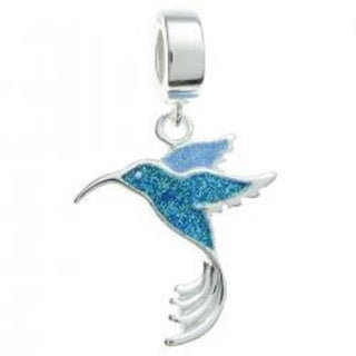 Queenberry Sterling Silver Blue Enamel Hummingbird Bird Dangle European Bead Charm