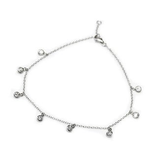 Queenberry Sterling Silver Cubic Zirconia Link Rolo Cable Anklet