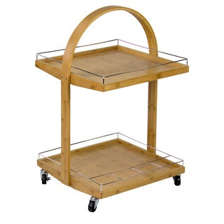 Modern Bamboo Rolling Bar Cart