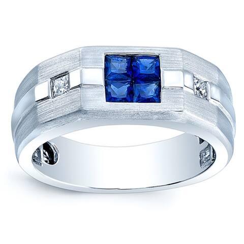 Estie G 18k White Gold Men's Blue Sapphire and 1/5ct TDW Diamond Band (H-I, SI2-I1) (Size 10)