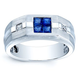 Estie G 18k White Gold Men's Blue Sapphire and 1/5ct TDW Diamond Band (H-I, SI2-I1) (Size 10)