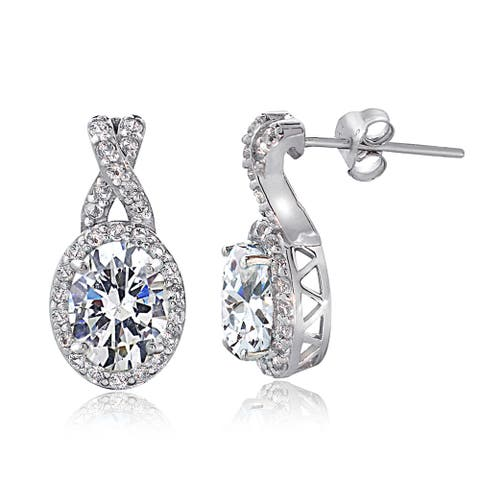Icz Stonez Sterling Silver Cubic Zirconia X and Oval Drop Earrings