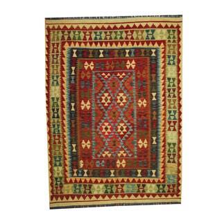 Herat Oriental Afghan Hand-woven Tribal Vegetable Dye Kilim Rust/ Light Green Wool Area Rug (5'2 x 7