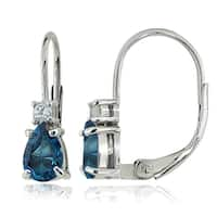 Glitzy Rocks Sterling Silver London Blue and White Topaz Teardrop Leverback Earrings