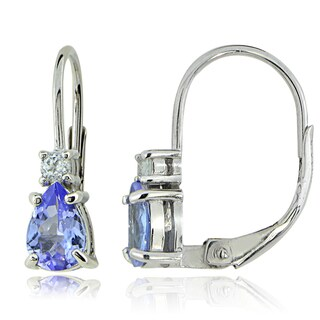 Glitzy Rocks Sterling Silver Tanzanite and White Topaz Teardrop Leverback Earrings
