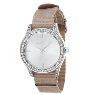 Via Nova Women's Silver Case and Plate Beige Nylon Strap Watch