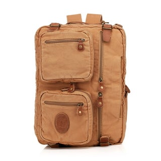 Vincenzo Canvas/ Leather Flex 15-inch Laptop Messenger Briefcase/ Backpack
