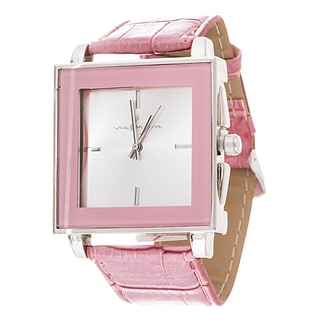 Via Nova Women's Square Silver Case Pink Leather Strap Watch