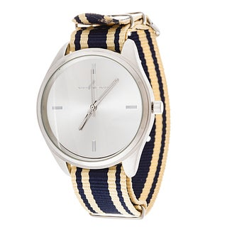Via Nova Women's Round Silver Case Navy Blue & Beige Nylon Strap Watch