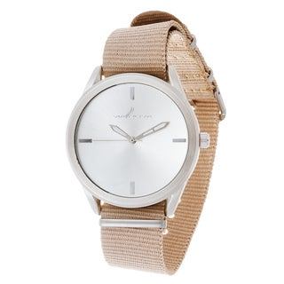 Via Nova Women's Round Silver Case Beige Nylon Strap Watch