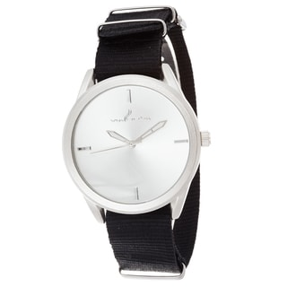 Via Nova Women's Round Silver Case Black Nylon Strap Watch
