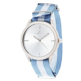Via Nova Women's Round Silver Case Blue & White Nylon Strap Watch
