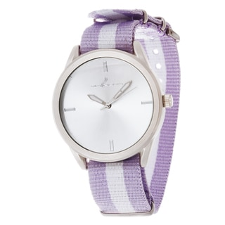Via Nova Women's Round Silver Case Purple & White Nylon Strap Watch