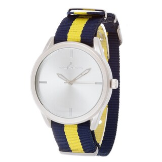 Via Nova Women's Round Silver Case Navy Blue & Yellow Nylon Strap Watch