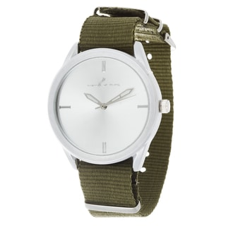 Via Nova Women's Round Silver Case Green Nylon Strap Watch