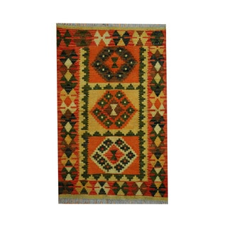 Herat Oriental Afghan Hand-woven Tribal Vegetable Dye Kilim Gold/ Rust Wool Area Rug (2'7 x 4')