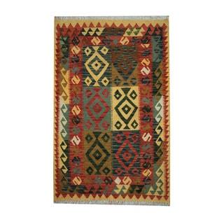 Herat Oriental Afghan Hand-woven Tribal Vegetable Dye Wool Kilim (3'3 x 5')
