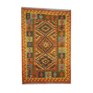 Herat Oriental Afghan Hand-woven Tribal Vegetable Dye Kilim Rust/ Gold Wool Area Rug (3'4 x 4'11)