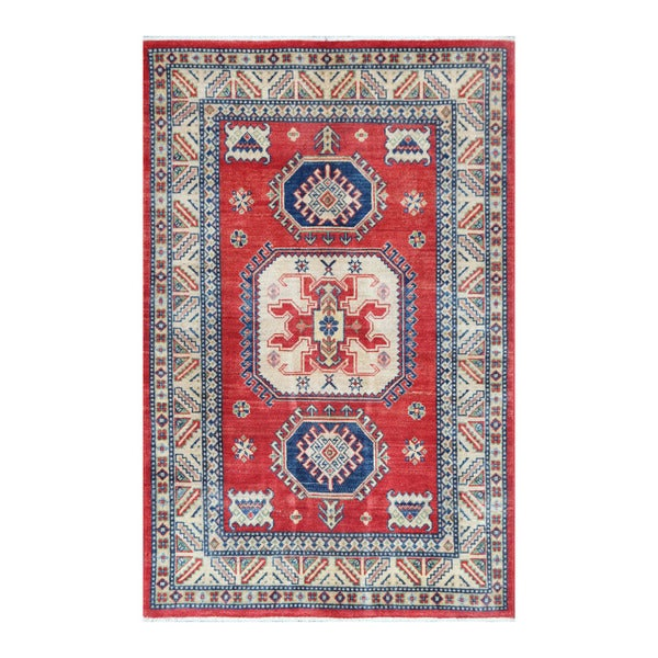 Herat Oriental Afghan Hand-knotted Tribal Vegetable Dye Kazak Wool Rug (3'11 x 6')