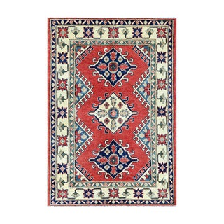 Herat Oriental Afghan Hand-knotted Tribal Vegetable Dye Kazak Wool Rug (3'11 x 5'9)