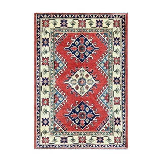 Herat Oriental Afghan Hand-knotted Tribal Vegetable Dye Kazak Red/ Ivory Wool Rug (3'11 x 5'9)