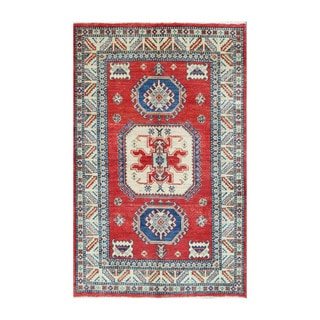 Herat Oriental Afghan Hand-knotted Tribal Vegetable Dye Kazak Wool Rug (3'11 x 6'1)