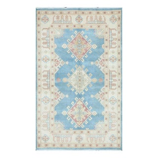Herat Oriental Afghan Hand-knotted Tribal Vegetable Dye Kazak Light Blue/ Ivory Wool Rug (3'11 x 6'6)