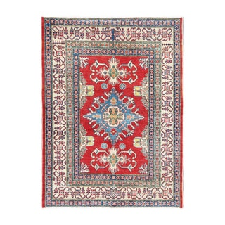 Herat Oriental Afghan Hand-knotted Tribal Vegetable Dye Kazak Red/ Ivory Wool Rug (4'5 x 5'10)