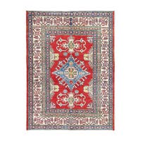 Handmade Herat Oriental Afghan Tribal Vegetable Dye Kazak Wool Rug  - 4'5 x 5'10 (Afghanistan)