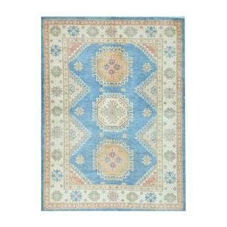 Herat Oriental Afghan Hand-knotted Tribal Vegetable Dye Kazak Light Blue/ Ivory Wool Rug (5' x 6'11)