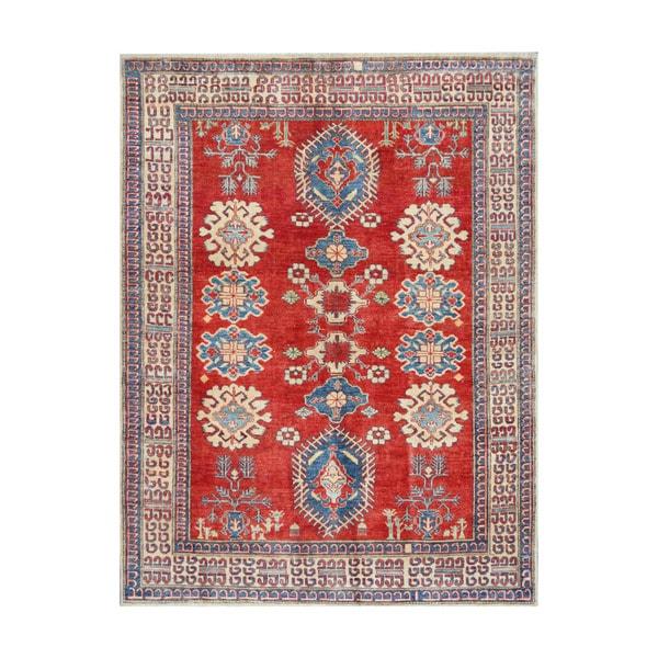 Handmade Herat Oriental Afghan Tribal Vegetable Dye Kazak Wool Rug - 5'3 x 7' (Afghanistan)