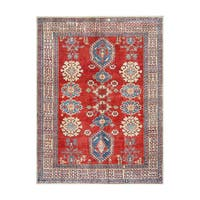 Herat Oriental Afghan Hand-knotted Tribal Vegetable Dye Kazak Wool Rug (5'3 x 7') - 5'3 x 7'