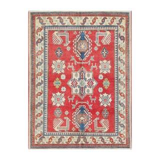 Herat Oriental Afghan Hand-knotted Tribal Vegetable Dye Kazak Wool Rug (4'8 x 6'2)