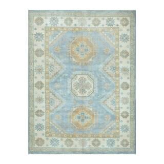 Herat Oriental Afghan Hand-knotted Tribal Vegetable Dye Kazak Light Blue/ Ivory Wool Rug (5'1 x 6'10