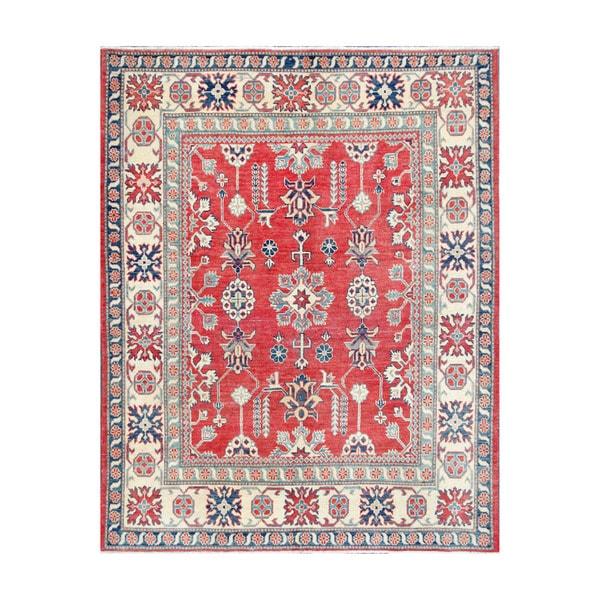 Herat Oriental Afghan Hand-knotted Tribal Vegetable Dye Kazak Wool Rug (5'2 x 6'6) - 5'2 x 6'6