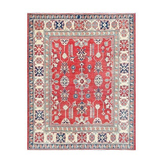 Herat Oriental Afghan Hand-knotted Tribal Vegetable Dye Kazak Red/ Ivory Wool Rug (5'2 x 6'6)