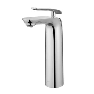 KRAUS Seda Single Hole Single-Handle Vessel Bathroom Faucet in Brushed Nickel and White