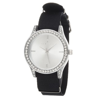 Via Nova Women's Silver Case and Plate Black Nylon Strap Watch