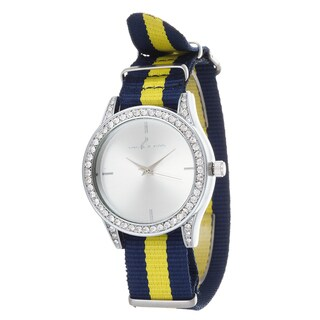 Via Nova Women's Silver Case and Plate Navy Blue & Yellow Nylon Strap Watch