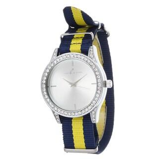 Via Nova Women's Silver Case and Plate Navy Blue & Yellow Nylon Strap Watch