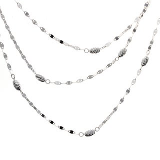 16-inch Sterling Silver Diamond-cut Bead Twist Link Muli-Layered Necklace